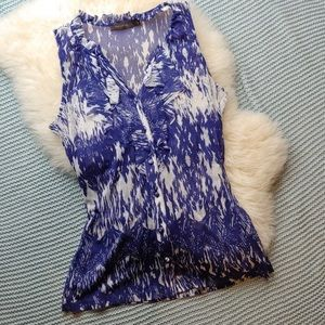 Limited See Through Blue and White Tie-back Tank